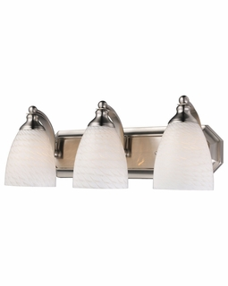 570-3N-WS Elk Bath And Spa 3 Light Vanity In Satin Nickel And White Swirl Glass