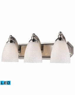 570-3N-WS-LED Elk Bath And Spa 3 Light LED Vanity In Satin Nickel And White Swirl Glass