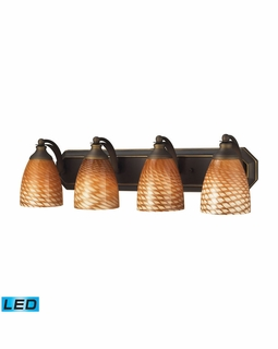 570-4B-C-LED Elk Bath And Spa 4 Light LED Vanity In Aged Bronze And Cocoa Glass