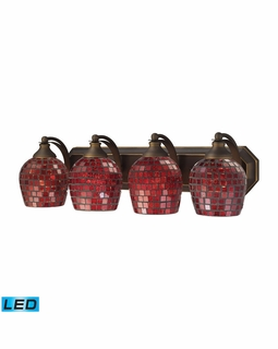 570-4B-CPR-LED Elk Bath And Spa 4 Light LED Vanity In Aged Bronze And Copper Glass