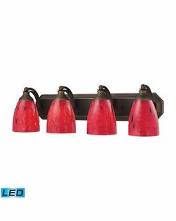 570-4B-FR-LED Elk Bath And Spa 4 Light LED Vanity In Aged Bronze And Fire Red Glass