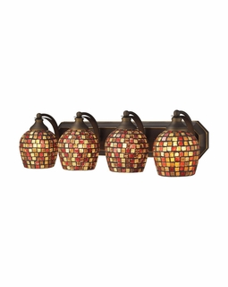 570-4B-MLT Elk Bath And Spa 4 Light Vanity In Aged Bronze And Multi Fusion Glass