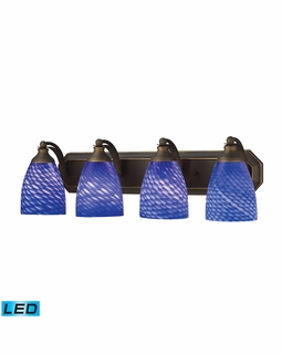 570-4B-S-LED Elk Bath And Spa 4 Light LED Vanity In Aged Bronze And Sapphire Glass