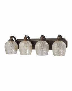 570-4B-SLV Elk Bath And Spa 4 Light Vanity In Aged Bronze And Silver Glass