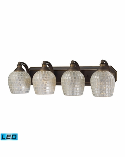 570-4B-SLV-LED Elk Bath And Spa 4 Light LED Vanity In Aged Bronze And Silver Glass