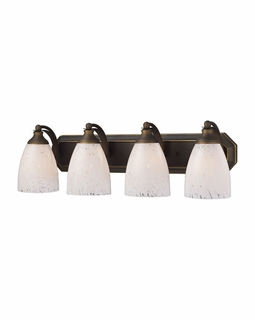 570-4B-SW Elk Bath And Spa 4 Light Vanity In Aged Bronze And Snow White Glass