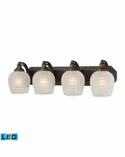 570-4B-WHT-LED Elk Bath And Spa 4 Light LED Vanity In Aged Bronze And White Glass