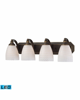 570-4B-WS-LED Elk Bath And Spa 4 Light LED Vanity In Aged Bronze And White Swirl Glass