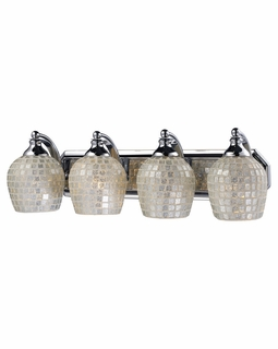 570-4C-SLV Elk Bath And Spa 4 Light Vanity In Polished Chrome And Silver Glass
