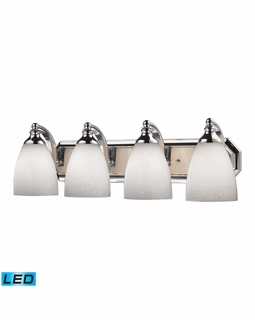 570-4C-WH-LED Elk Bath And Spa 4 Light LED Vanity In Polished Chrome And Simple White Glass