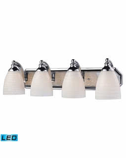 570-4C-WS-LED Elk Bath And Spa 4 Light LED Vanity In Polished Chrome And White Swirl Glass