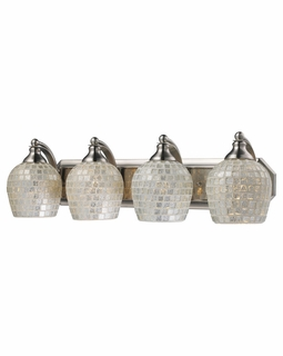 570-4N-SLV Elk Bath And Spa 4 Light Vanity In Satin Nickel And Silver Glass