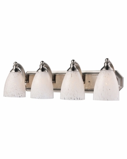 570-4N-SW Elk Bath And Spa 4 Light Vanity In Satin Nickel And Snow White Glass