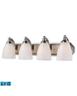 570-4N-SW-LED Elk Bath And Spa 4 Light LED Vanity In Satin Nickel And Snow White Glass