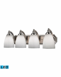 570-4N-WH-LED Elk Bath And Spa 4 Light LED Vanity In Satin Nickel And Simple White Glass