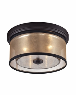 57025/2 Transitional Diffusion 2 Light Flushmount In Oil Rubbed Bronze