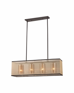 57028/4 Transitional Diffusion 4 Light Chandelier In Oil Rubbed Bronze