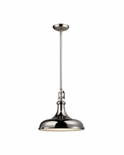 57031/1 Elk Restoration Rutherford 1 Light Pendant In Polished Nickel