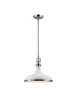 57041/1 Elk Restoration Rutherford 1 Light Pendant In Polished Nickel And Gloss White