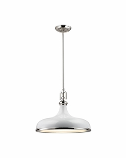 57042/1 Elk Restoration Rutherford 1 Light Pendant In Polished Nickel And Gloss White
