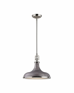 57081/1 Elk Restoration Rutherford 1 Light Pendant In Polished Nickel And Weathered
