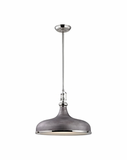 57082/1 Elk Restoration Rutherford 1 Light Pendant In Polished Nickel And Weathered Zinc