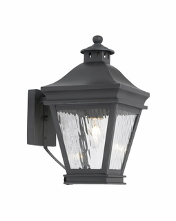 5720-C Elk Landings Outdoor Wall Lantern In Charcoal And Water Glass