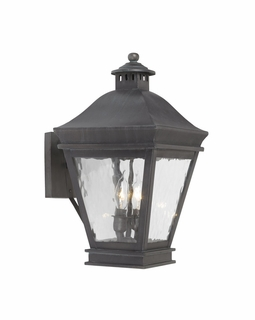 5721-C Elk Landings Outdoor Wall Lantern In Charcoal And Water Glass