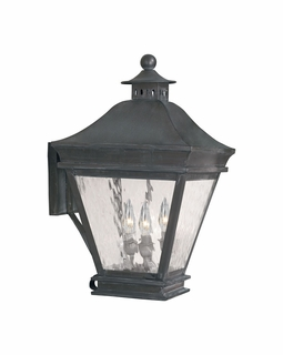 5722-C Elk Landings Outdoor Wall Lantern In Charcoal And Water Glass
