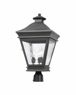 5723-C Elk Landings Outdoor Post Lantern In Charcoal And Water Glass