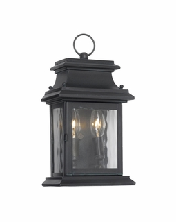 5726-C Elk Provincial Outdoor Wall Lantern In Charcoal And Water Glass