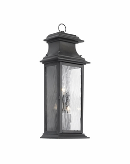 5727-C Elk Provincial Outdoor Wall Lantern In Charcoal And Water Glass