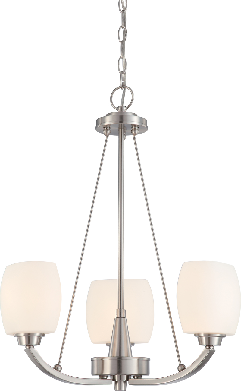 604185 nuvo contemporary brushed nickel helium 3 light chandelier w 604185 nuvo contemporary brushed nickel helium 3 light chandelier w satin white glass aloadofball Image collections