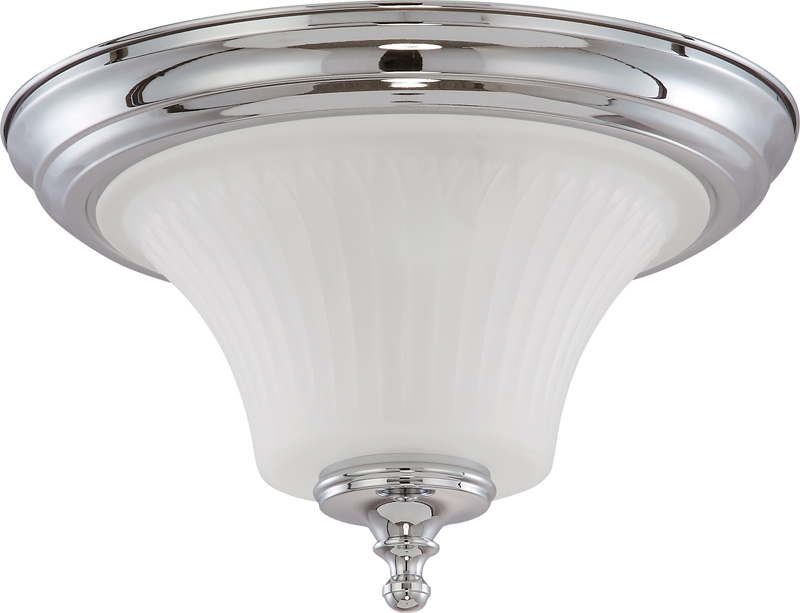60/4271 Nuvo Contemporary Polished Chrome Teller 2 Light Flush Dome Fixture w/ Frosted Etched Glass