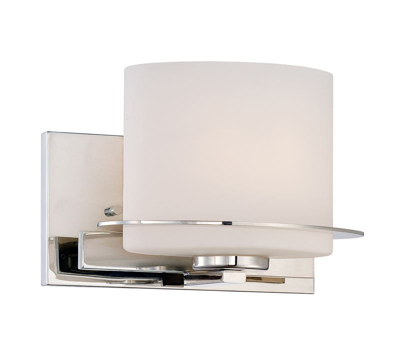 Vanity Light Extension Box : 60/5101 Nuvo Contemporary Polished Nickel Loren 1 Light Vanity Fixture w/ Oval Frosted Glass