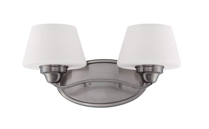 60/5222 Nuvo Transitional Brushed Nickel Ludlow 2 Light Vanity Fixture w/ Satin White Glass
