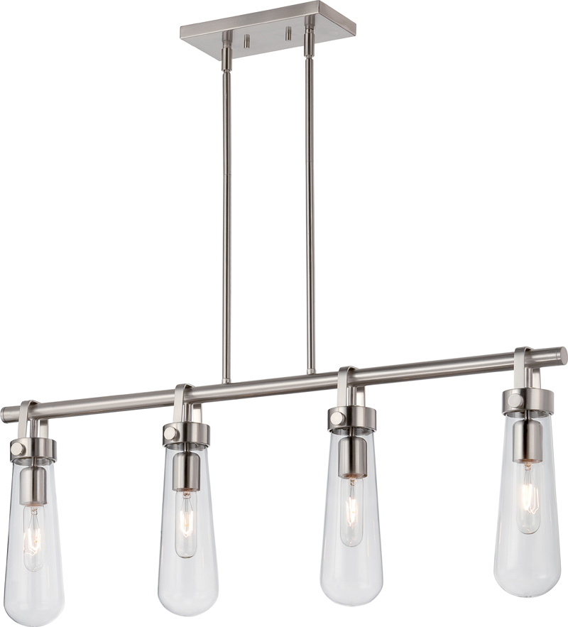 60 5265 Nuvo Transitional Brushed Nickel Beaker 4 Light Trestle Fixture W Clear Glass Vintage Lamps Included