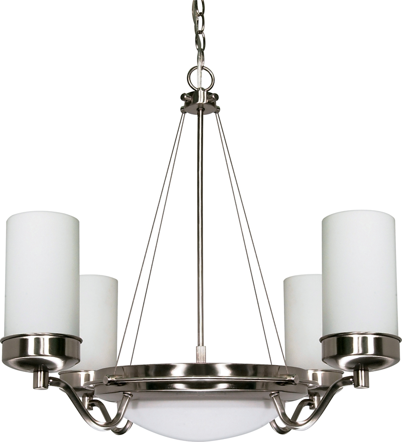 60607 nuvo contemporary brushed nickel polaris 6 light 29 inch 60607 nuvo contemporary brushed nickel polaris 6 light 29 inch chandelier w satin frosted glass shades aloadofball Image collections