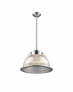 60004-1 Elk Restoration Halophane 1 Light Pendant In Polished Chrome
