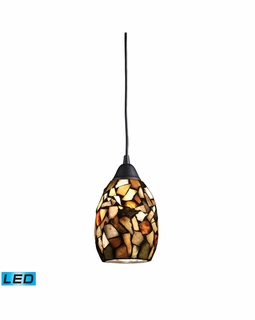 60018-1-LED Elk Trego 1 Light LED Pendant In Dark Rust With Multi-Colored Stone