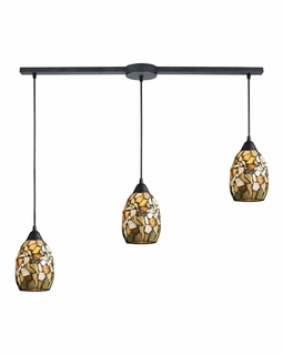60018-3L Elk Trego 3 Light Pendant In Dark Rust