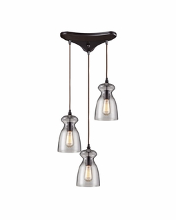 60043-3 Elk Restoration Menlow Park 3 Light Mini Pendant In Oil Rubbed Bronze