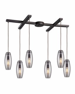 60044-6 Elk Restoration Menlow Park 6 Light Mini Pendant In Oil Rubbed Bronze