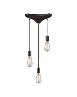 60046-3 Elk Restoration Menlow Park 3 Light Mini Pendant In Oil Rubbed Bronze