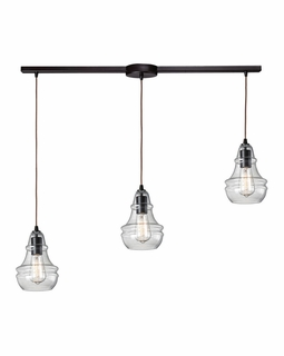 60047-3L Elk Restoration Menlow Park 3 Light Mini Pendant In Oil Rubbed Bronze