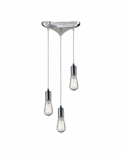 60056-3 Elk Restoration Menlow Park 3 Light Mini Pendant In Polished Chrome