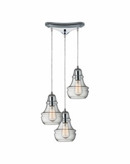 60057-3 Elk Restoration Menlow Park 3 Light Mini Pendant In Polished Chrome
