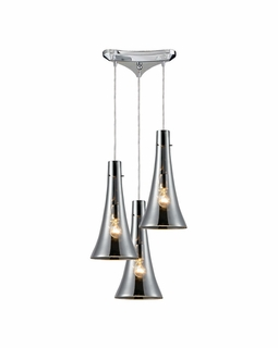 60065-3 Elk Restoration Menlow Park 3 Light Mini Pendant In Polished Chrome