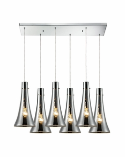 60065-6RC Elk Restoration Menlow Park 6 Light Mini Pendant In Polished Chrome