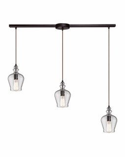 60066-3L Elk Restoration Menlow Park 3 Light Pendant In Oil Rubbed Bronze